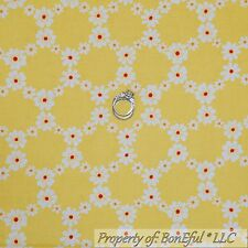 BonEful Fabric Cotton Quilt Yellow White Orange Red Dot Small Flower Retro SCRAP