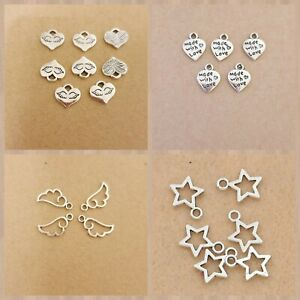10 psc Antique Silver Tibetan Charms Pendants Jewelry Card Making Crafts