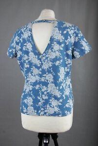 L098/60 Denim Co Blue  Floral Cotton Short Sleeve Open Back Top UK12 Eu40 US8