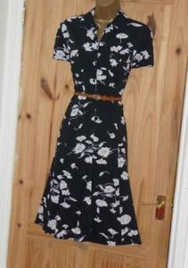 Black white floral vintage WW2 40s 50s repro party tie shirt tea dress sz 18 20