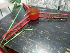 """Vintage heavy duty huge large Christmas tree stand iron metal red antique 43"""""""