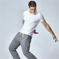 Men Short Sleeve T-shirt Basic Casual Tee Cotton Sports Gym Slim Breathable Tops