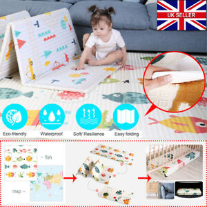 2 Side Baby Play Mat Thicken Lightweight Crawling Pad Folding Household Cushion