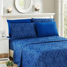 Lux Decor Collection Microfiber Bed Sheet Set - Paisley Navy Blue