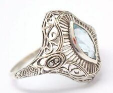 Ringe mit Edelsteinen aus Sterlingsilber echten Innenvolumen (18,1 mm Ø) Blautopas