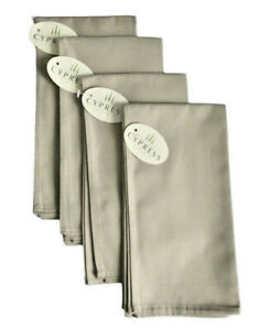 """Cypress Home Fabric Napkins in Set of 4 Easy Care 19"""" x 19"""" 100% Cotton Taupe"""