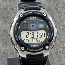 Casio Men's 200M WR 5 Alarms World Time 10 Year Battery Watch AE2000W-1AV New