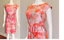 VTG 1960s Pink Floral FRINGE 2 pc Silky Summer Party JACKIE Dress w/Top M/L