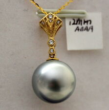 AAAA 14K solid gold 12mm TAHITIAN SALTWATER PEARL PENDANT