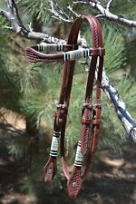 Jose Ortiz Dark Chestnut Shape Browband Headstall w/Natural & Turquoise Rawhide