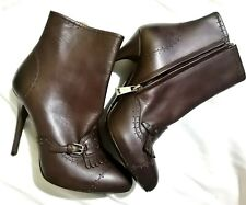 RL LEATHER FRINGE ANKLE BOOTS SZ6D