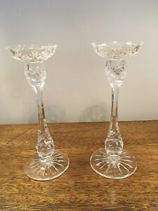 "2 Pair, Lot of 4, Vintage Crystal 9.5"" Height CANDLESTICK HOLDERS"