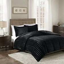 Madison Park MP10-3064 Duke Faux Fur Comforter Mini Set Black Full/Queen NEW