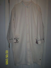 JUST REDUCED!Woolrich Winter White Robe Full  button w/Log Cabin Stenciling Sz L