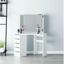 Modern Corner Dressing Table Vanity Desk Makeup Table Set Mirror Bedroom Home