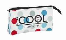 Hello Kitty COOL Girls Ladies Deluxe Triple Pencil Case School Office Pouch