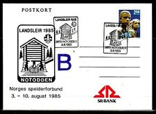 Norway, 1985 cancel. Landsleir Scout Group on Postal Card. First day.