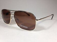 50add4eca60 Authentic Lucky BRAND Sunglasses Rectangle Pilot Gold Brown Lens D910 61mm