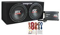 "MTX TNP212D2 12"" 1200W Dual Loaded Car Subwoofer Audio Sub+Box+Amplifier+Amp Kit"