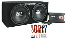 "MTX TNP212D2 12"" 1200W Dual Loaded Car Subwoofer Audio Sub+Box+Amplifier+Amp Kit"