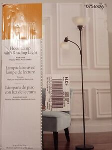 New!! Portfolio 71-in Black Torchiere with Reading Light Floor Lamp