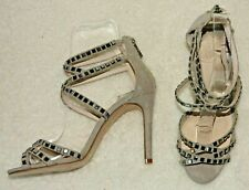 Faith Light Grey Faux Suede Strappy Stiletto Heel Ankle Strap Sandals - Size 3