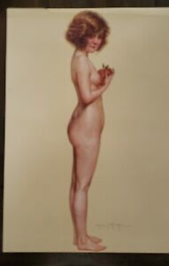 """Maurice MILLIERE Resque Nude Original 8""""x10"""" lithograph in color c1900 Art Deco"""