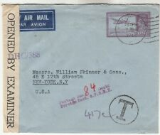 India Censored Airmail Cover