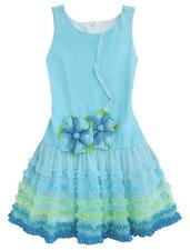 New Girls Boutique Isobella & Chloe sz 4 Turquoise Flower Dress Clothes Easter