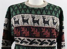 Vintage MINT Orvis 100% Wool Crewneck Animal Print Sweater MENS LARGE Christmas