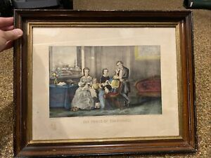 Original Currier & Ives Hand Colored Lithograph~THE FRUITS OF TEMPERANCE~Framed