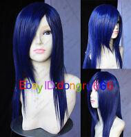 New Long Dark Blue Cosplay Straight women's hair full Wig/Wigs