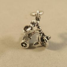 .925 Sterling Silver 3-D TRICYCLE CHARM NEW Trike Child Kids First Bike 925 BA30