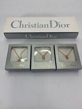 VTG Christian Dior Signed Enamel Gold Tone 3 piece pendant set Necklace Jewlery