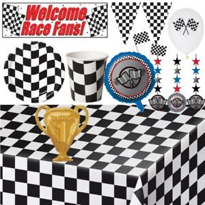 Racing Motorsport Checkered Flag Party Tableware, Decorations & Balloons