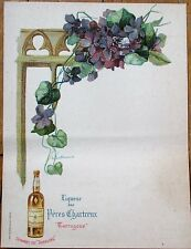 Liqueur des Peres Chartreux Tarragone 1900 Color Litho French Advertising Menu