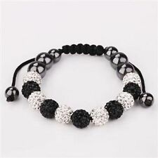 SPARKLY BLACK & WHITE SHAMBALLA BRACELET-11 DISCO BEADS-CZECH CRYSTAL-UK SELLER
