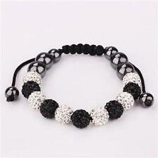 Brillant Noir & Blanc Shamballa Disco bracelet-11 beads-czech crystal-uk vendeur