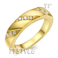 TT Gold-Tone Sparkling CZ Stripe Stainless Steel Wedding Band Ring (R306J)