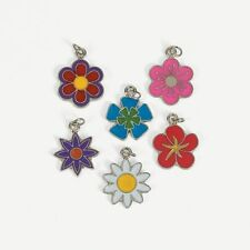 RETRO FLOWER POWER ENAMEL METAL SCRAPBOOK JEWELRY CRAFT CHARM SET LOT *NEW*