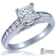 1.24Ct (0.68)F/SI1 Princess Excellent Cut Diamond Engagement Ring Solitaire 14k