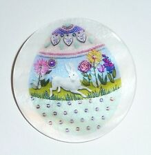 """Easter Egg with Bunny Rabbit Button on Mother of Pearl MOP Shank Button 1+3/8"""""""