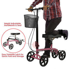 Clevr Medical Foldable Steerable Knee Walker Scooter with Basket, Pink
