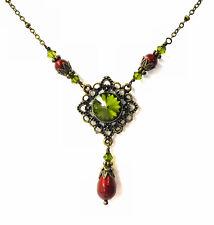 Vintage Olivine Green Rivoli Filigree Pendant Necklace with Crystal by Swarovski