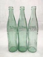 Coca Cola Bottle Lot 3 Green Glass Money Back Bottles / Return for Refund 16 OZ.