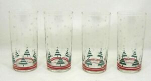 Lot/4 Tumblers Glasses CHRISTMAS TREE & Snowflake Design Red Bands