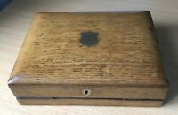 ANTIQUE OAK DESKTOP WRITING SLOPE With Key