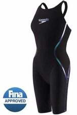 NWT — Womens 27 — Speedo Fastskin LZR Racer X Open Back Kneeskin — Black/Blue
