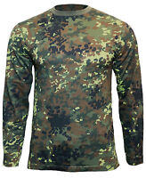 Flecktarn Camo Long Sleeved T-Shirt - 100% Cotton Army Military Top New