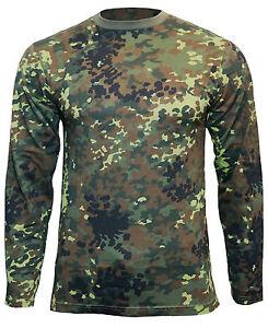 Flecktarn Camo Long Sleeved T-Shirt - 100% Cotton Army Military Top New